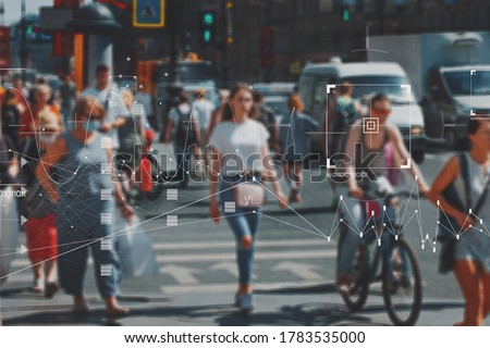 Face recognition and personal identification technologies in street surveillance cameras, law enforcement control. crowd of passers-by with graphic elements. Privacy and personal data protection, #1783535000
