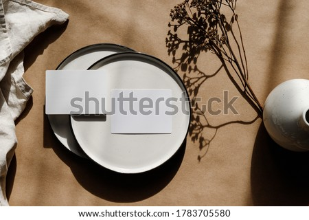 Two blank paper sheet cards on plates. Minimalist ceramics set over kraft paper. Business template, copy space, flat lay.