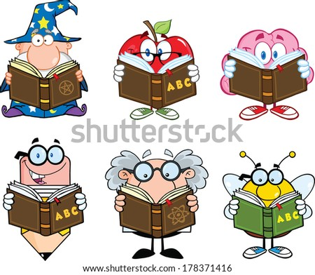 Different Mascots Reading A Book Cartoon Characters. Set Raster Collection