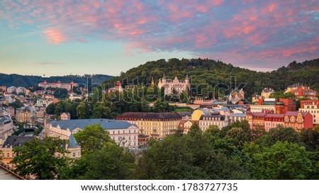 Karlovy Vary, Czech Republic. Panoramic aerial image of Karlovy Vary (Carlsbad), located in western Bohemia at beautiful sunrise.  #1783727735
