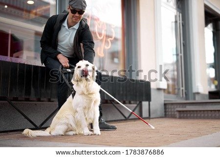 blind young man lovingly stroking guide dog, feeling gratitude for help, friend, full life of impaired, enjoying time.