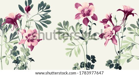 horizontal floral composition with mauve Aquilea flowers and rough leaves in shades of green Royalty-Free Stock Photo #1783977647