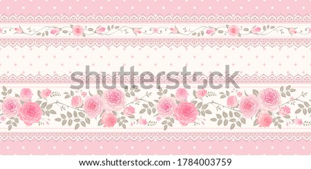 Vector vintage background, border. Seamless floral pattern with pink roses and laces for wallpaper, fabric, gift wrap, digital paper, fills, etc. Shabby chic style Royalty-Free Stock Photo #1784003759