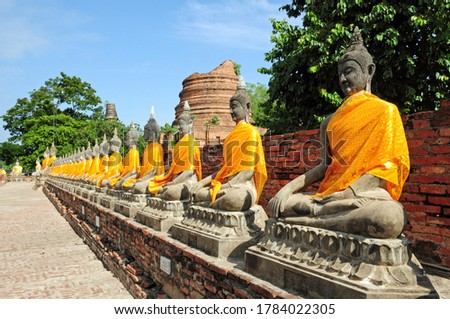 Buddhist statues in Ayutthaya Historical Park. #1784022305