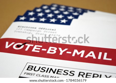 Mockup (fake / print-out concept) for election theme of Vote by Mail Ballot envelopes for election.