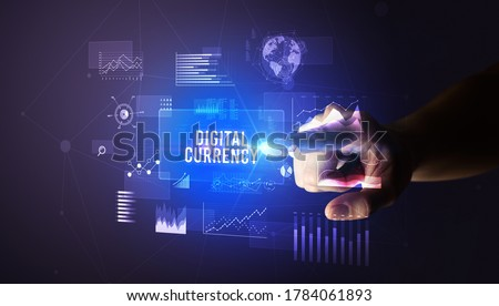 Hand touching DIGITAL CURRENCY inscription, new business technology concept Royalty-Free Stock Photo #1784061893