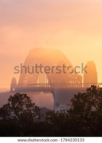 Golden light over the fog at Sydney Harbour Bridge. Royalty-Free Stock Photo #1784230133