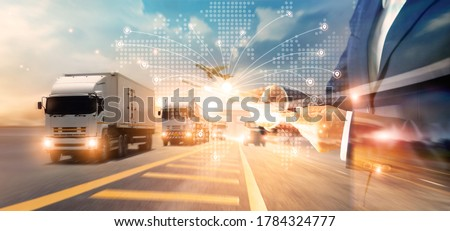 Transport and logistic concept, Freight shipping online, Businessman using tablet and data for global logistic network distribution on world map background, Business and technology. #1784324777