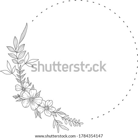 Floral Wreath branch in hand drawn style. Floral round black and white frame of twigs, leaves and flowers. Frames for the Valentine's day, wedding decor, logo and identity template. Royalty-Free Stock Photo #1784354147