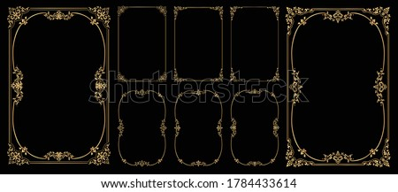 Set of Decorative vintage frames and borders on Black bacground, Gold photo frame with corner Thailand line floral for picture, Vector design decoration pattern style Royalty-Free Stock Photo #1784433614