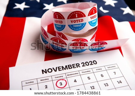 Democracy presidential elections in the USA 2020. Red circle on date 3 of November, copy space Royalty-Free Stock Photo #1784438861