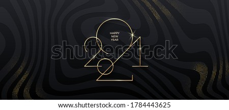 Golden 2021 New Year logo on black striped background with glitter gold. Holiday greeting card. Vector illustration. Holiday design for greeting card, invitation, calendar, etc. #1784443625