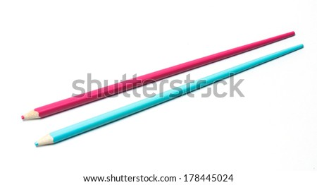 Pink and blue color pencil in shape of chopsticks. Isolated on white background.  #178445024