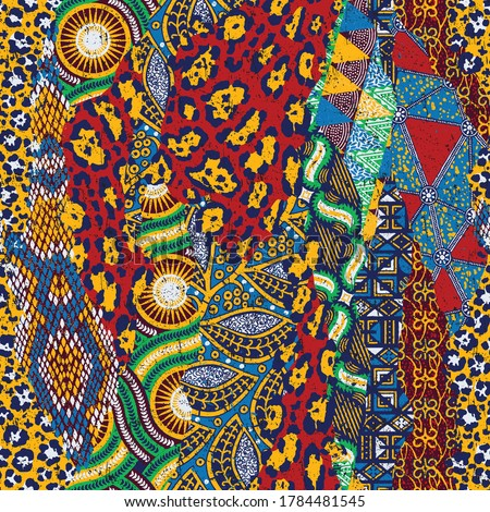 Traditional african fabric and wild animal skins patchwork abstract vector seamless pattern Royalty-Free Stock Photo #1784481545
