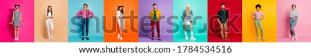 Collage picture nine best fellows multiple creative design postcard poster attractive millennial confident people six ladies three guys good mood isolated many different colors background #1784534516