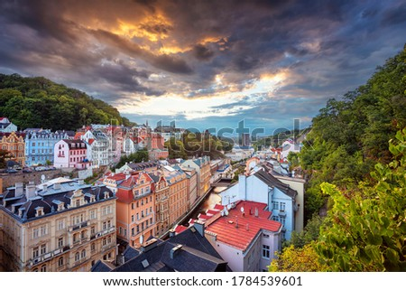 Karlovy Vary, Czech Republic. Aerial image of Karlovy Vary (Carlsbad), located in western Bohemia at beautiful sunset. #1784539601