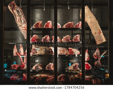 Dry aged cabinet at Harrods department store Royalty-Free Stock Photo #1784704256