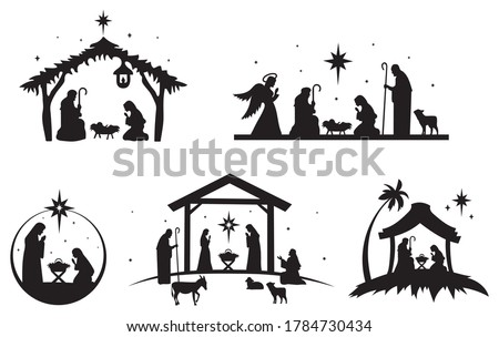 Set of holy Christmas scene. Collection of silhouettes traditional christian characters holy night. Family holidays. Vector illustration of sacred elements for holiday cards. #1784730434
