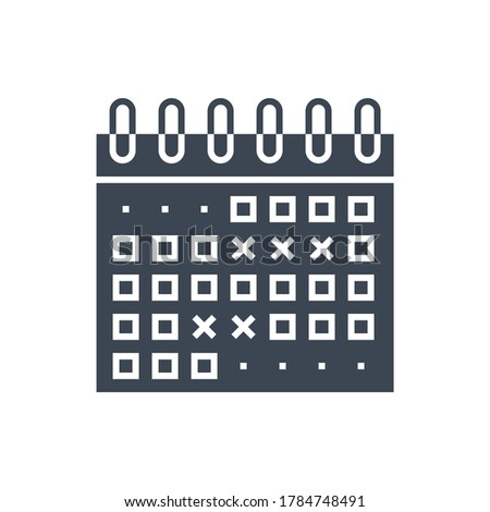 Events Calendar Related Glyph Icon. Isolated on White Background. Illustration.