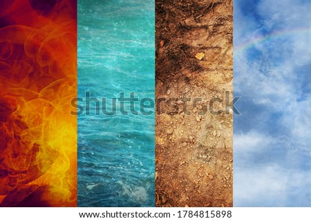 Four Elements of Nature, collage of abstract backgrounds from Fire, Water, Earth, and Air, ecology concept  Royalty-Free Stock Photo #1784815898