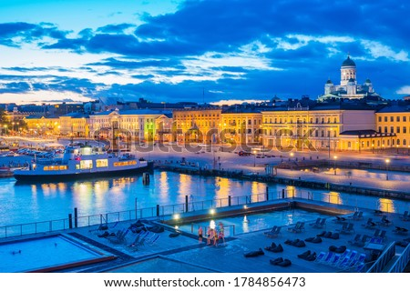 Helsinki. Finland. Evening in the capital of Finland. Pool by the sea. The city harbour of Helsinki. Recreation area on the pier. Swimming Pool With Views Of Helsinki Harbour. Entertainment in Finland #1784856473