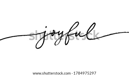 Joyful word, vector brush lettering. Hand drawn modern brush calligraphy isolated on white background. Christmas vector ink illustration. Typography for Holiday greeting gift poster, cards, banner Royalty-Free Stock Photo #1784975297
