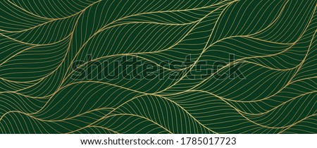 Luxury golden emerald wallpaper.  Abstract gold line arts texture with green emerald background design for cover, invitation background, packaging design, fabric, and print. Vector illustration. Royalty-Free Stock Photo #1785017723