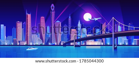 City bridge over water bay at night vector illustration. Cartoon flat modern bridge to downtown futuristic neon metropolis, downtown cityscape waterfront buildings, tower skyscrapers landscape view Royalty-Free Stock Photo #1785044300