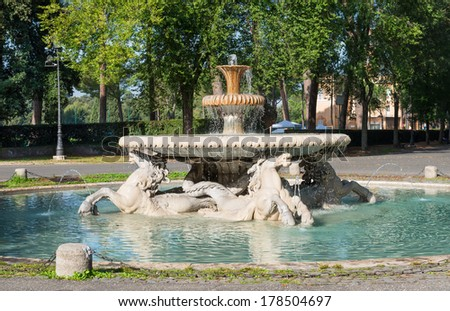 Fountain in Garden of Villa Borghese in Rome, Italy #178504697