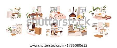 Set of stylish mid century scandinavian apartment design interiors. Cozy furnished living room, homey bedroom, hygge kitchen, hallway. Flat vector cartoon illustration isolated on white background #1785080612