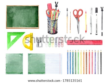 Big Back to School collection with different stationery, tools, black board, copybooks. Hand drawn watercolour painting, clip art elements for design. Isolated objects on white background.
