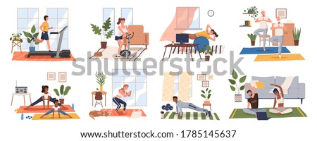 Sport exercise at home scenes set. Different people doing workout indoor. Yoga and fitness, healthy lifestyle. Flat vector illustration men and women using house as a gym lead an active lifestyle #1785145637