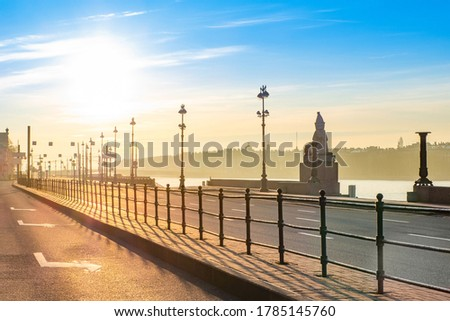 Saint Petersburg in the early morning. Russia. Sunrise in St. Petersburg. University embankment. Sphinx on the Neva embankment. Early morning in a big city. Morning city. Royalty-Free Stock Photo #1785145760
