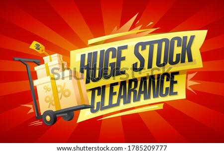 Huge stock clearance vector banner mockup with boxes on a shopping cart #1785209777