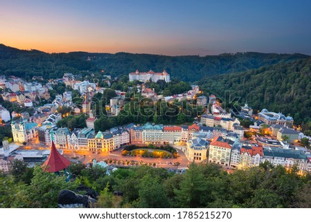 Karlovy Vary, Czech Republic. Panoramic aerial image of Karlovy Vary (Carlsbad), located in western Bohemia at beautiful sunrise. #1785215270