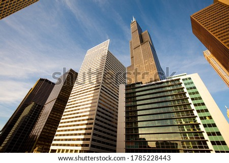 Cityscape of skyscrapers at downtown Chicago, Illinois, United States
