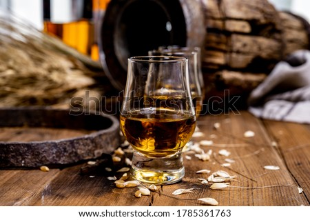 Small tasting glasses with aged Scotch whisky on old dark wooden vintage table with barley grains close up #1785361763