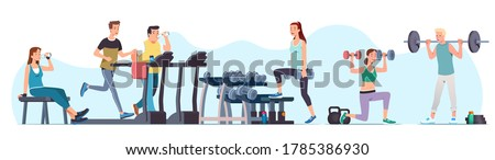 Men & women athletes doing exercises & training at gym set. Sporty people working out lifting dumbbells & weight, jogging on treadmill. Sport, wellness, workout, run, fitness. Flat vector illustration #1785386930