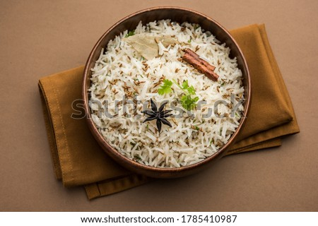 Cumin rice or Jeera Rice is a popular Indian main course item made using Basmati rice with basic spices #1785410987