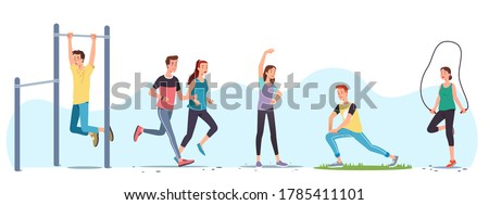 Men & women athletes doing exercises & working out outdoors set. People training,  street workout equipment, jogging, stretching body, skipping rope. Sport, fitness & running. Flat vector illustration Royalty-Free Stock Photo #1785411101