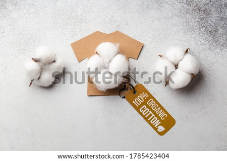 Organic cotton clothing concept with label. Paper craft t-shirt. Eco-clothing Royalty-Free Stock Photo #1785423404