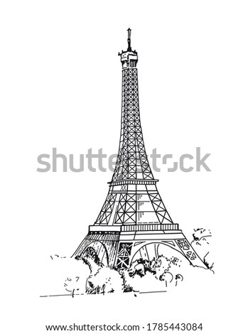 Eiffel Tower, Paris, France. Sketches hand drawn illustration background. Flyer, booklet advertising and design. Line art style. Raster copy.