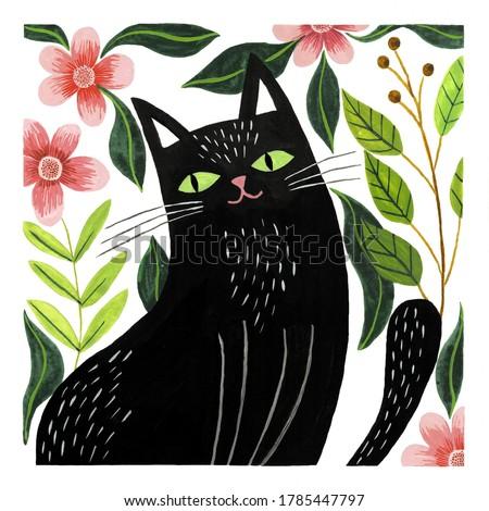 Illustration of a cute black cat watercolor
