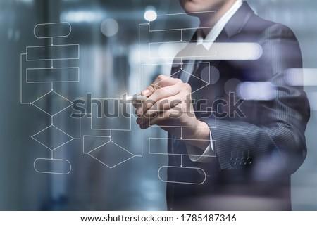 Businessman draws a flowchart of the program on a virtual screen. Royalty-Free Stock Photo #1785487346