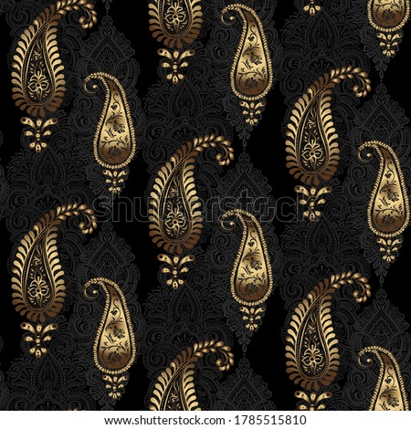 Paisley - Indian folk weaving seamless ethnic pattern. Floral oriental ethnic background. Arabic and indian tribal ornament. Ornamental motives of the paintings of oriental fabric patterns. #1785515810