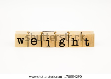 closeup weight wording isolate on white background #178554290