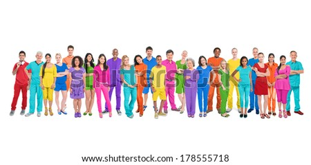 Diversity of Life: Large Group of Diverse Multi-ethnic Colorful World People #178555718