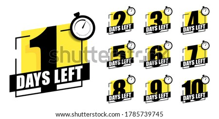 Countdown of days 1,2,3,4,5,6,7,8,9,10. The days left badges. A countdown is going on, one day I left a badge and a label to calculate the date of work. Offer timer, sticker limited to a few days. #1785739745