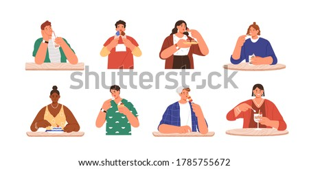 Set of happy people eating delicious dessert at cafe. Sweet addiction, harmful snack. Enjoyment, pleasure or sweet tooth concept. Flat vector cartoon illustration isolated on white background #1785755672