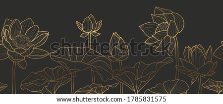 Luxury wallpaper design with Golden lotus and natural background. Lotus line arts design for fabric, prints and background texture, Vector illustration. Royalty-Free Stock Photo #1785831575